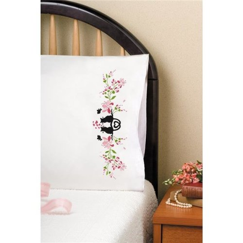 20 x 30 in. Stamped for Embroidery Pillowcase Pair - Cat Silhouette