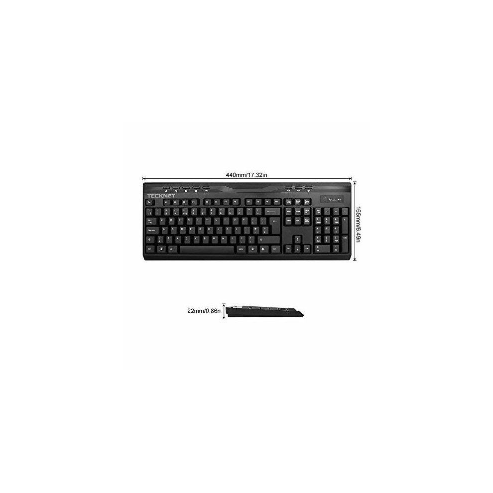 TeckNet X300 2 4Ghz Wireless Multimedia Entertainment Keyboard(UK keyboard  layout) and Mouse Combo for Desktop With Water-Resistant Keyboard Design