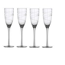 4pc Ella Engraved Champagne Flutes