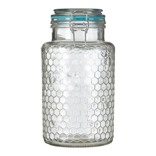 Large Apiary Blue Seal Honeycomb Pattern Jar | Glass Jar With Lid