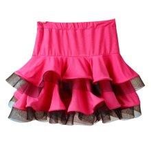 Eye-Catching [Red&Black Ruffle] Girls Latin Dance Skirt Practice Dress Asian M