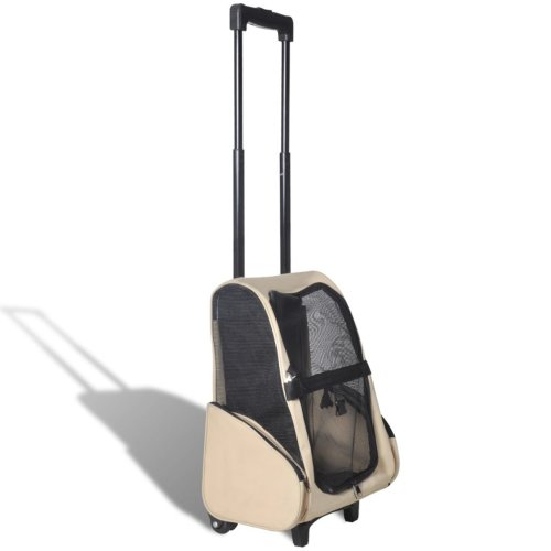 vidaXL Foldable Multipurpose Pet Trolley Beige Doggy Travel Trailer Stroller