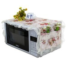 Elegant Flowers Design Microwave Oven Protective Cover Dust-proof Cover, B