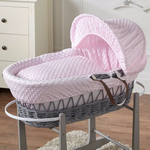 Pink Dimple Grey Wicker Moses Basket