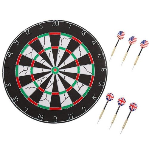 Trademark Global 15-FD181 Hey Play 18 in. Double-Sided Flocking Dartboard with Six 17g Darts