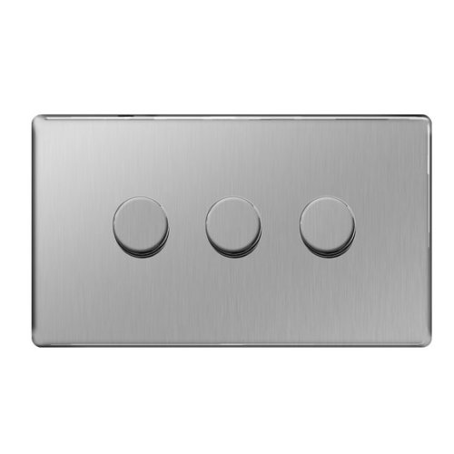 BG Flatplate Screwless 3 Gang 2 Way Push Dimmer 400W Brushed Steel