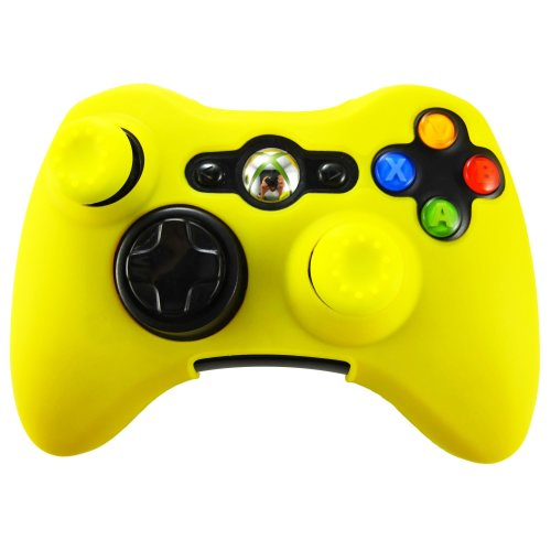 Pandaren silicone skin for XBOX 360 controller (yellow) x 1 + thumb grip x 2