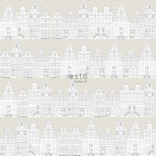 HD non-woven wallpaper drawn Amsterdam canal houses light gray