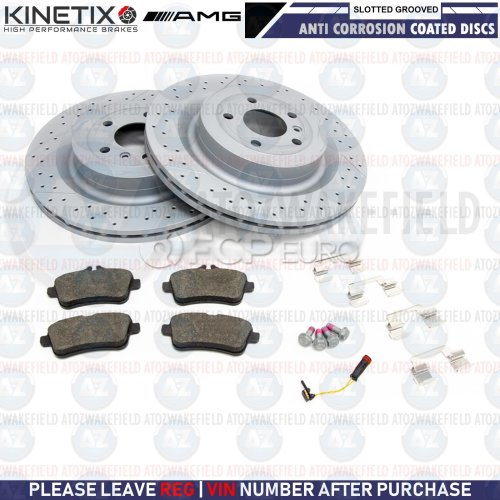 FOR MERCEDES GLS63 AMG 2015- REAR SLOTTED & GROOVED BRAKE DISCS PADS WIRE 345mm