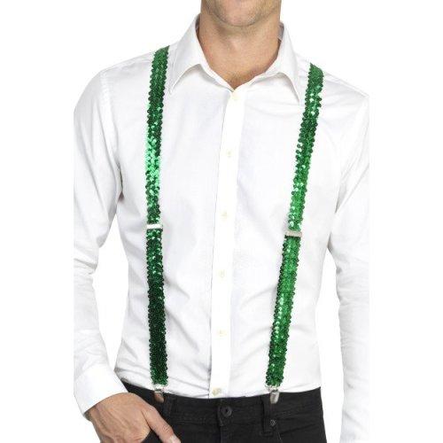 Green Sequin Costume Braces. -  sequin braces fancy dress accessory adults suspenders costume green mens unisex gangster showbiz act ladies carnival