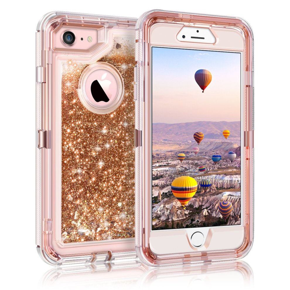 more photos 1c8ec a3762 Coolden iPhone 6S Case, iPhone 6 Case, Heavy Duty Dual Layer iPhone 6S  Protective Case Floating Bling Glitter Sparkle Shiny Quicksand Liquid  Clear...