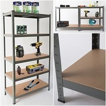 5-Tier Garage Shelving | Grey Metal Storage Shelf Unit