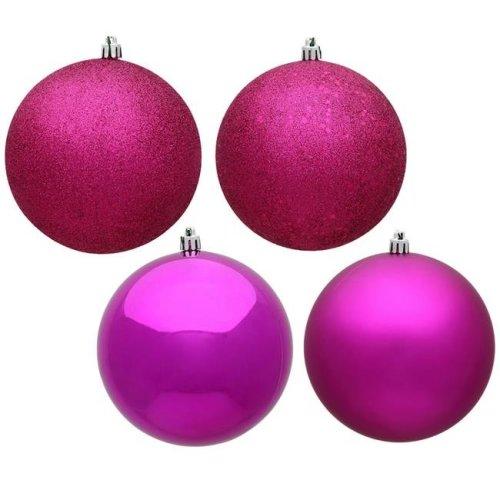 Vickerman N590870 3 in. Fuchsia 4 Finish Assorted Color Christmas Ornament Ball - 16 per Box