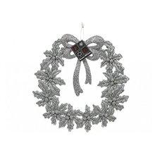 Plastic Silver Glitter Finish 19cm Wreath Decoration -  plastic silver glitter finish 19cm wreath decoration