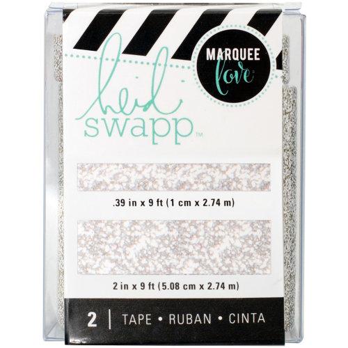 """Heidi Swapp Lightbox Tapes .4""""X9' & 2""""X9'-Silver Glitter"""