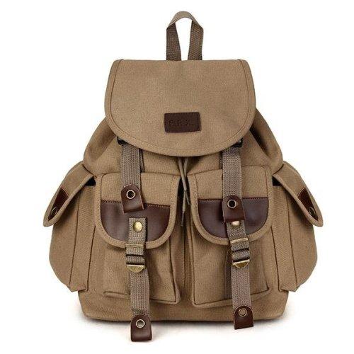Vintage Men's Backpack Canvas PU Hiking Couples Travel Military Satchel School Bag
