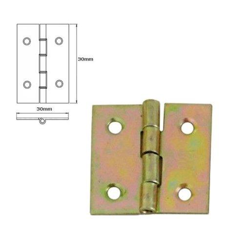 100 Pcs Folding Closet Cabinet Door Butt Hinge Brass Plated 30x30mm