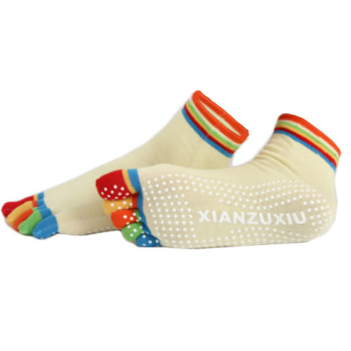 Women's Non Slip Full Toe Yoga Socks With Grip 2 Pairs Set,Rainbow Toe/Yellow