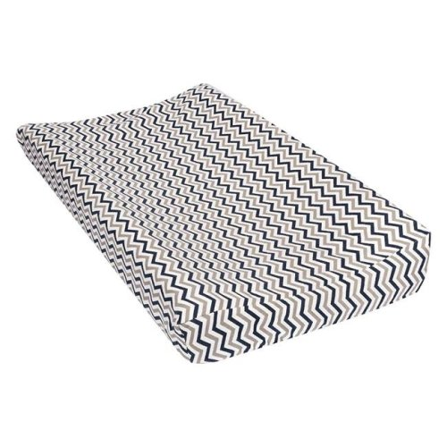TrendLab 101377 Chevron Deluxe Flannel Changing Pad Cover, Navy & Gray