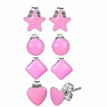 Urban Male Set of Four Stainless Steel & Pink Resin Shaped Stud Earrings