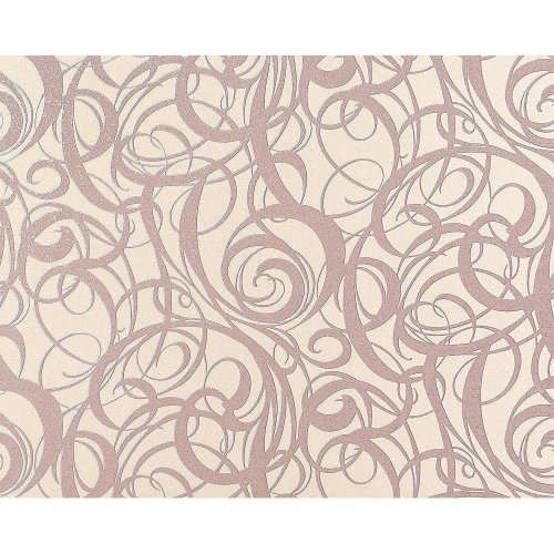 EDEM 971-33 wallpaper non-woven luxury curved swirl lines pastel rose 114 sq ft