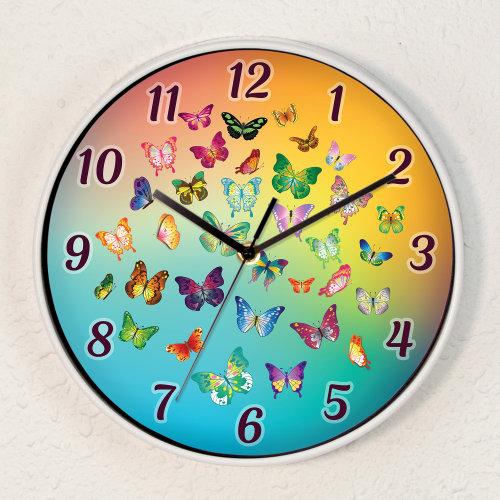 Butterfly Dream Children Wall Clock Kids Room