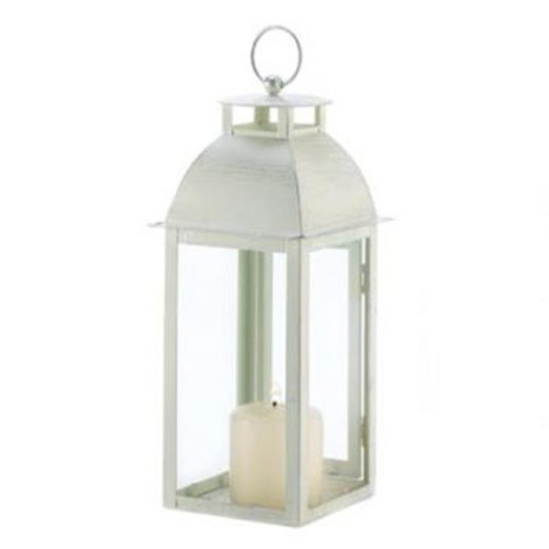 Home Locomotion 10001047 Distressed Ivory Candle Lantern