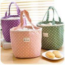 Casual Cotton Portable Lunch Bag Point Heat Retaining Storage Bag Pinic Bag