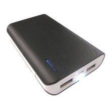 LMS Data Dual USB Portable PowerBank Charger with Torch - 6000mAh - Black/White (USB-PBK-6000-BL)