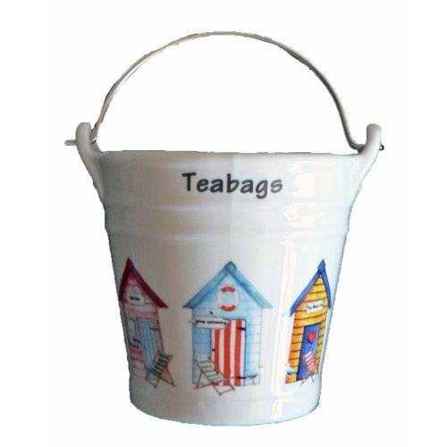 Beach hut Design Bucket Teabag Tidy, Porcelain Bucket Teabag Tidy
