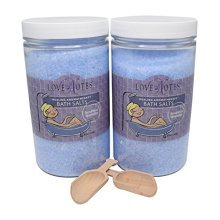 Aromatherapy Epsom Salt Bath Salts 2 Pack with Wooden Scoop (Lavender)