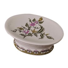 European Style Retro Ceramic Soap Box Oval Soap Holder for Toilet, Pink