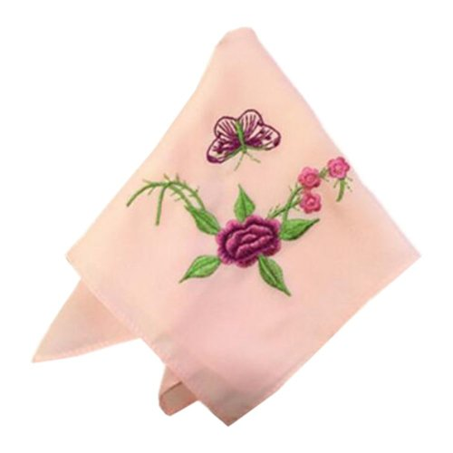 Two Pieces Of Elegant And Retro Beautiful Flower  Embroidered Handkerchiefs-e