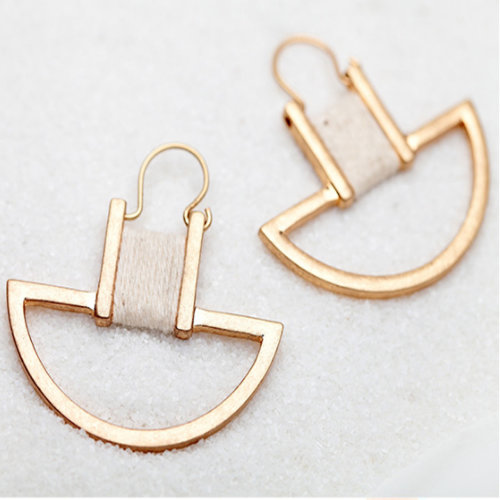 Geometric Dangle Earrings | Gold-Tone Semicircle Drop Earrings