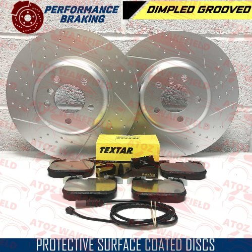 FOR BMW 330d 335d 340i FRONT DIMPLED GROOVED BRAKE DISCS TEXTAR PADS WIRE 370mm