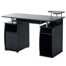 (Black) Homcom Wooden Office Desk | Desktop Computer Workstation