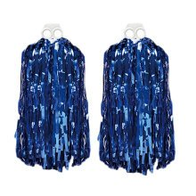 Set of 2 Bright Plastic Cheerleading Poms 100g, Blue
