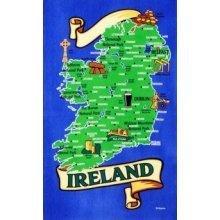 Map of Ireland Tea Towel Souvenir Gift Irish Dublin Belfast Eire Towns Cities