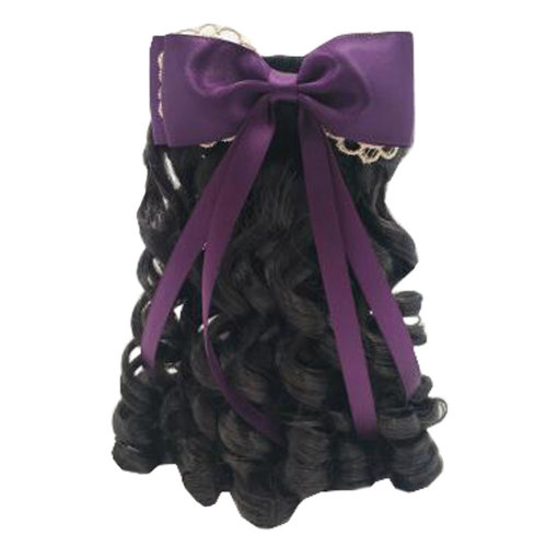 Children Girls Long Curly Wigs Hair Extensions Hair Clip Kids Wig Hairpiece, H