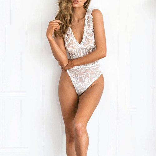 Sexy White Mesh Bodysuit Women Tops Transparent Summer Jumpsuit Romper Fitness V neck Hollow Out Party Club Bodysuits Femme F3