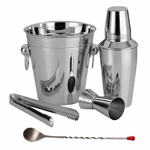 5pc Stainless Steel Cocktail Drinks Shaker Ice Mixer Maker Bar Bartender Set Kit