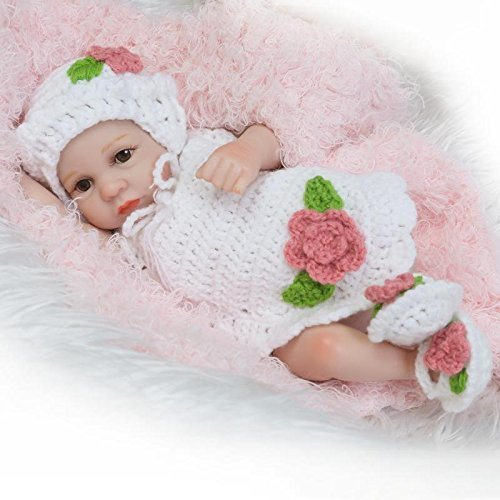 NPK Newborn Reborn baby doll Girl Realistic 10Inch Mini Full Silicone Body Washable Lifelike White Outfit gift sets for Ages 2+