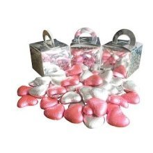Pack of 9 Pink and White Chocolate Heart Filled Holographic Star Silver Cube Balloon Weight Favour Boxes