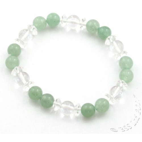 Aventurine and Clear Rock Crystal Gemstone Bracelet