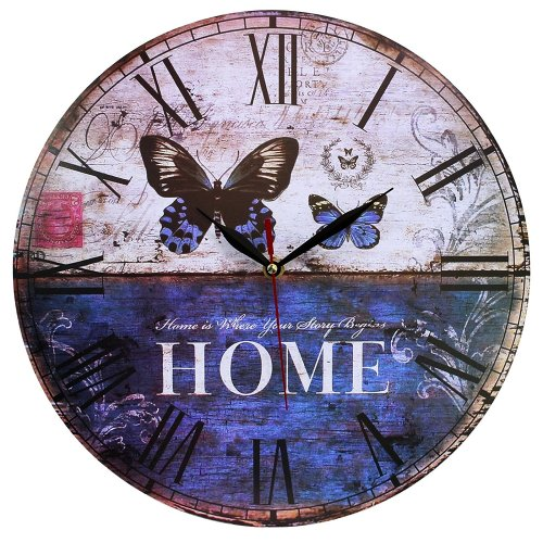 Obique Home Decoration 34cm MDF Home & Butterfly Scene Wall Clock