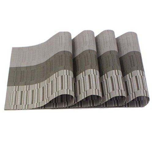 6 Pcs Heat Insulation Stain Resistant Placemat For Dining Table Durable Pvc Woven Kitchen Mats Grey On