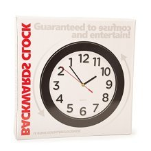Backwards Clock - Black Novelty Confusing Wall Funtime Clocks -  backwards clock black novelty confusing wall funtime clocks