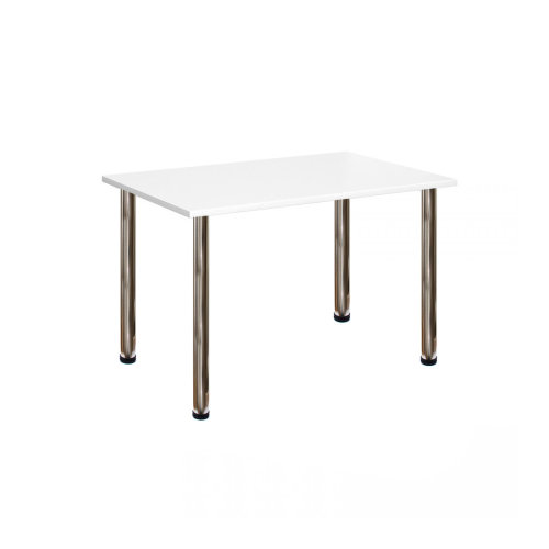 Computer Desk Office Dining Table Workstation Br Chrome Legs White Top 120x80cm