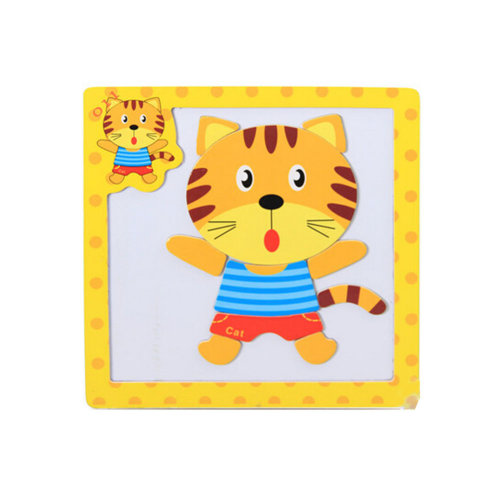 Wooden With Magnet Jigsaw Puzzle Children's Games Toys,cat