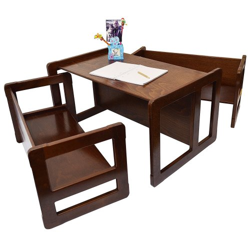 Obique Multifunctional Furniture Set of 3, 2 Benches & 1 Table, Dark